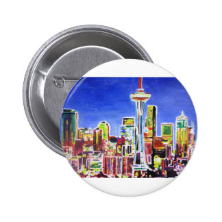 Shimmering Skyline Of Seattle With Space Needle Pinback Buttons
