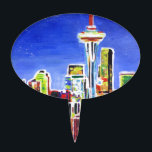 "Shimmering Skyline Of Seattle With Space Needle Cake Topper<br><div class=""desc"">This is a painting of neon shimmering Seattle Skyline with Space Needle at Night.</div>"