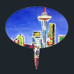 """Shimmering Skyline Of Seattle With Space Needle Cake Topper<br><div class=""""desc"""">This is a painting of neon shimmering Seattle Skyline with Space Needle at Night.</div>"""