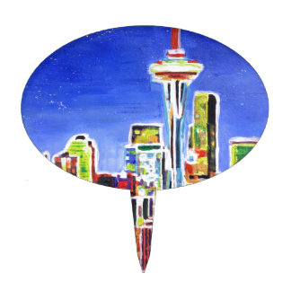 Shimmering Skyline Of Seattle With Space Needle Cake Picks