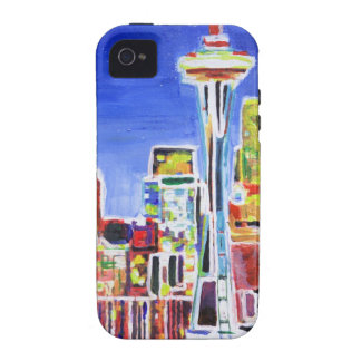 Shimmering Skyline Of Seattle With Space Needle Vibe iPhone 4 Cover