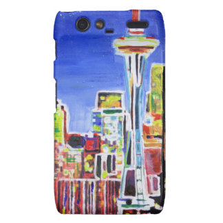 Shimmering Skyline Of Seattle With Space Needle Motorola Droid RAZR Case
