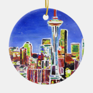 Shimmering Skyline Of Seattle With Space Needle Ceramic Ornament