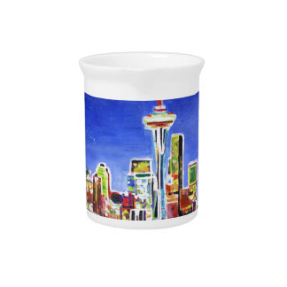 Shimmering Skyline Of Seattle With Space Needle Beverage Pitcher