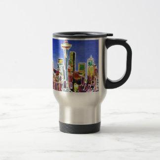 Shimmering Skyline Of Seattle With Space Needle Travel Mug