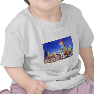 Shimmering Skyline Of Seattle With Space Needle Tshirt