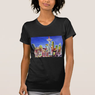 Shimmering Skyline Of Seattle With Space Needle Tee Shirts
