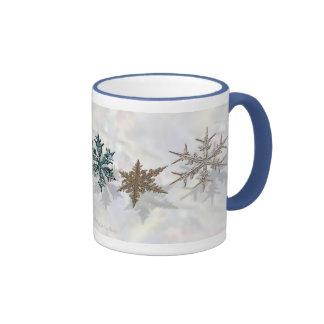 Shimmering Snowflakes Drinkware Ringer Coffee Mug