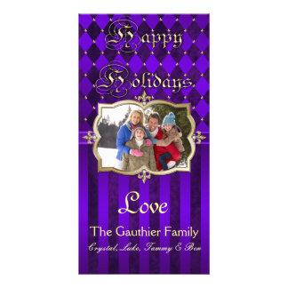 Shimmering Stripes & Diamonds Purple Photo Card