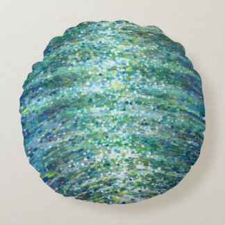 Shimmering Waves Blue Green Aqua Yellow Pillow