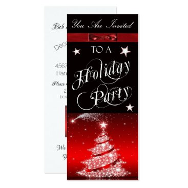 Professional Business Shimmering White Christmas Tree Holiday Party Card