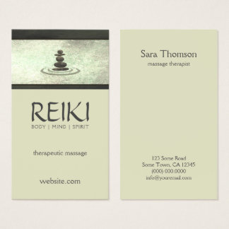 Shimmering Zen Stones Reiki Massage Therapist Business Card