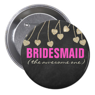Shimmery Chic Bridesmaid Button Pin
