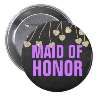 Shimmery Chic Maid of Honor Button Pin (purple)