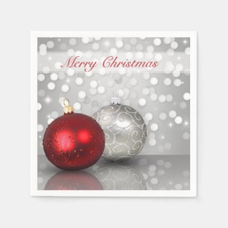 Shimmery Christmas Ornaments - Paper Napkin