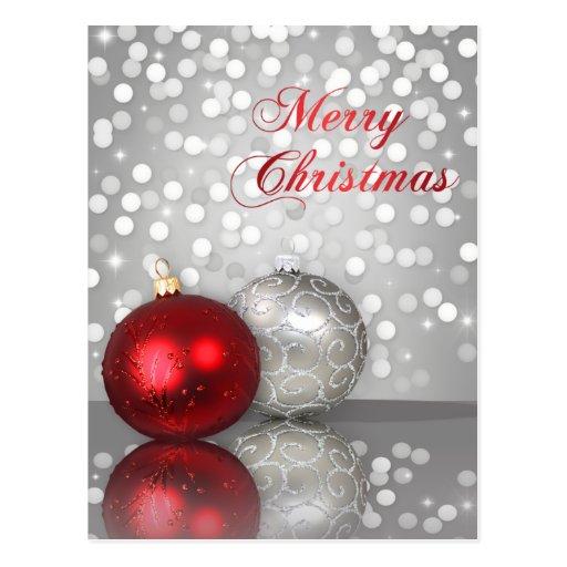 Shimmery Christmas Ornaments - Postcard