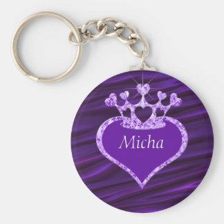 Shimmery Creased Purple Satin Crown Monogram Keychain