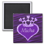 Shimmery Creased Purple Satin Crown Monogram 2 Inch Square Magnet