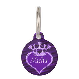 Shimmery Creased Purple Satin Crown Monogram Pet ID Tag