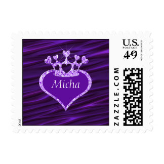Shimmery Creased Purple Satin Crown Monogram Postage
