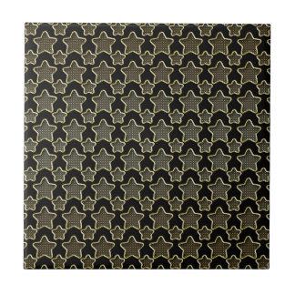 Shimmery Dots In Golden Stars On Black Ceramic Tile