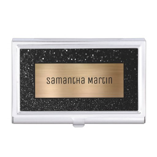 Shimmery Gold Ombre Foil and Sparkly Black Glitter Business Card Case