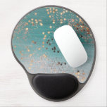Shimmery gold stars on teal gel mouse pad