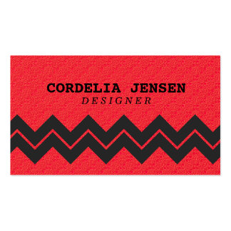 Shimmery Red Chevron Stripes Business Cards