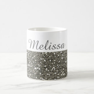 Shimmery Silver Glitter My Name Coffee Mug