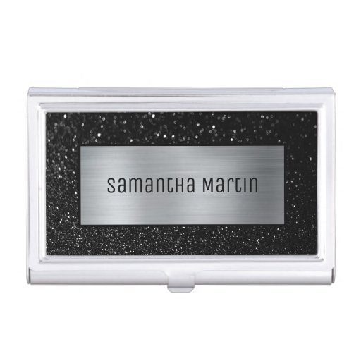 Shimmery Silver Ombre Foil Sparkly Black Glitter Business Card Case