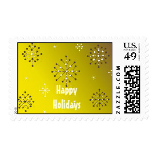 Shimmery Snowflakes on a Golden Background Postage