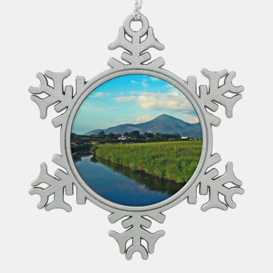Shimna River and Mourne Mountains Snowflake Pewter Christmas Ornament