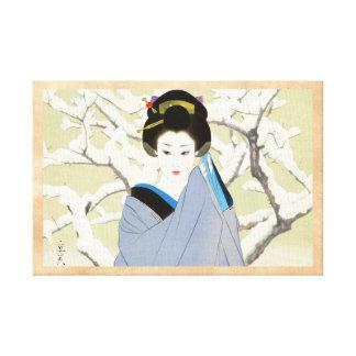 Shimura Tatsumi Two Subjects Japanese Women Snow Canvas Print