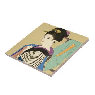 Shimura Tatsumi Two Subjects of Japanese Women Ceramic Tile