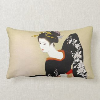 Shimura Tatsumi Two Subjects of Japanese Women Throw Pillows