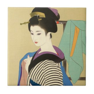 Shimura Tatsumi Two Subjects of Japanese Women Tile
