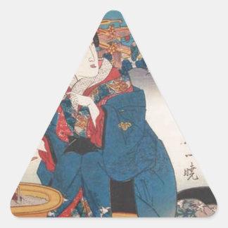 Shinagawa: Hot Tea by Keisai Eisen Triangle Sticker