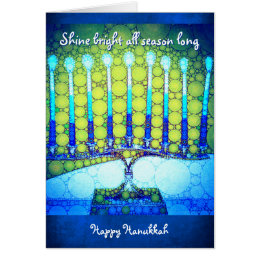 """Shine"" blue menorah photo custom name Hanukkah Card"