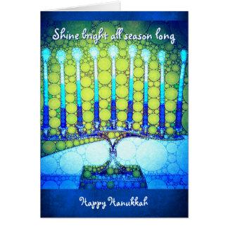 """""""Shine"""" blue menorah photo custom name Hanukkah Card"""