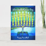"""Shine"" blue menorah photo custom name Hanukkah Holiday Card<br><div class=""desc"">""Shine bright all season long. Happy Hanukkah."" A close-up photo of a bright, colorful, blue artsy menorah helps you usher in the holiday of Hanukkah. Feel the warmth and joy of the holiday season whenever you send this stunning, colorful Hanukkah greeting card. Matching envelopes, stickers, stamps, tote bags, serving trays,...</div>"