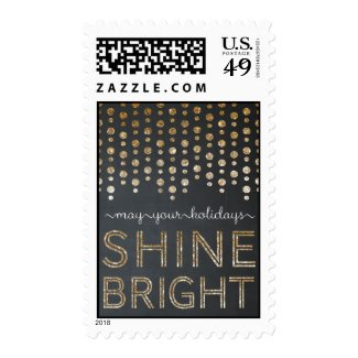 Shine Bright Christmas/ Holiday Postage - Gold Postage Stamps