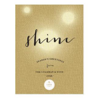 Shine Bright Gold Modern Logo Holiday Postcard