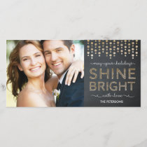 Shine Bright Holiday Photo Card - Gold