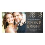 Shine Bright Holiday Photo Card - Gold Photo Greeting Card