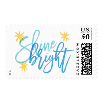 Shine Bright Modern Calligraphy Holiday Stamp