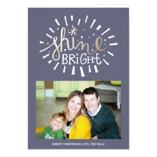 Shine Bright Navy and Gold Christmas Holiday Card