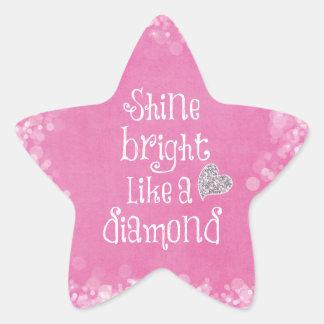 Shine Bright Quote with Silver Sparkle Heart Star Sticker