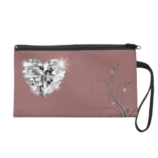 shine diamond heart wristlet