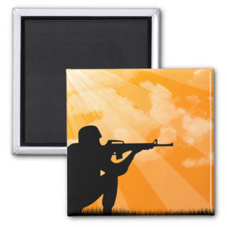 Shine down on Troops 2 Inch Square Magnet