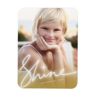 Shine Handwrite Script Gold Holiday Photo Magnet